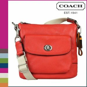 COACH Park Leather Pocket Swingpack in Vermillion